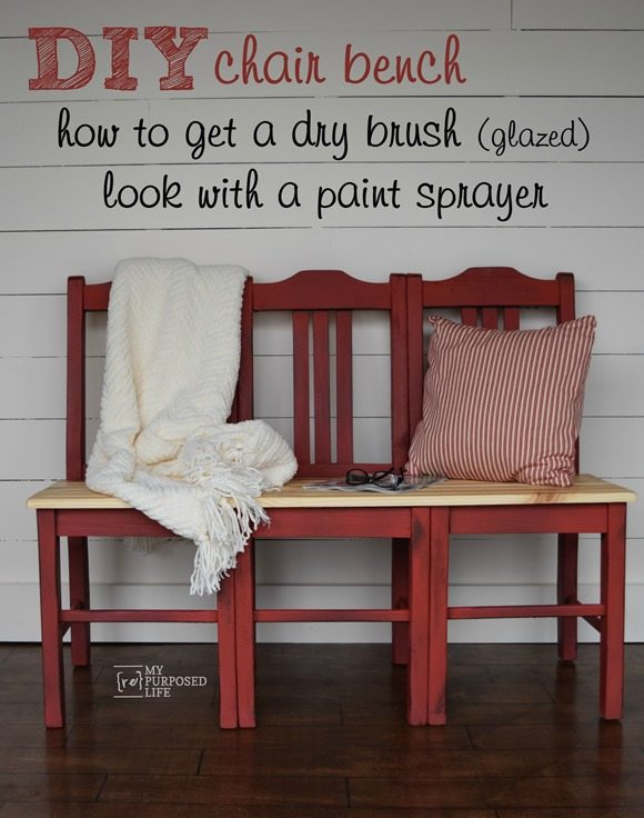 repurposed furniture triple chair bench MyRepurposedLife.com