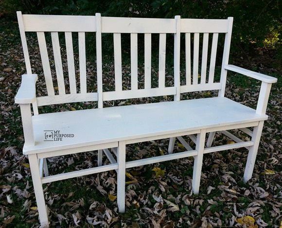 Stunning double triple chair white bench MyRepurposedLife