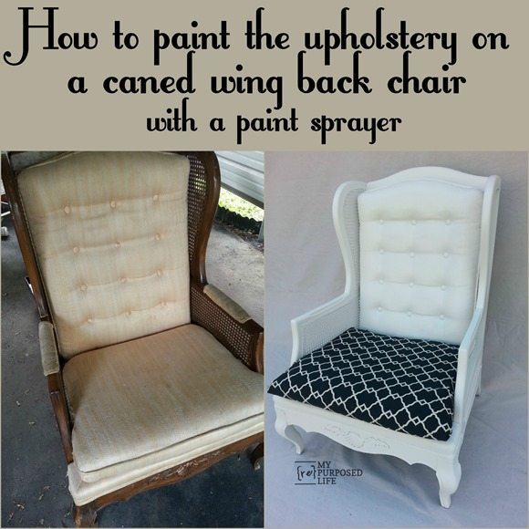 paint upholstery wing back chair MyRepurposedLife.com