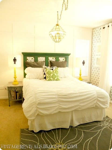 a pretty headboard made from an old door