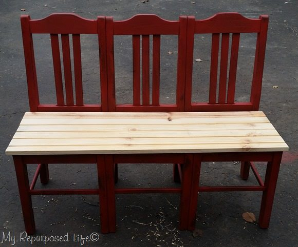 red-triple-chair-bench