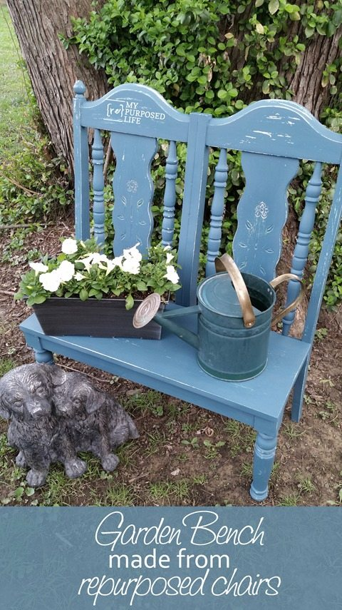How to make a sweet garden bench from reclaimed chairs. This garden bench was changed up and I love the new look!