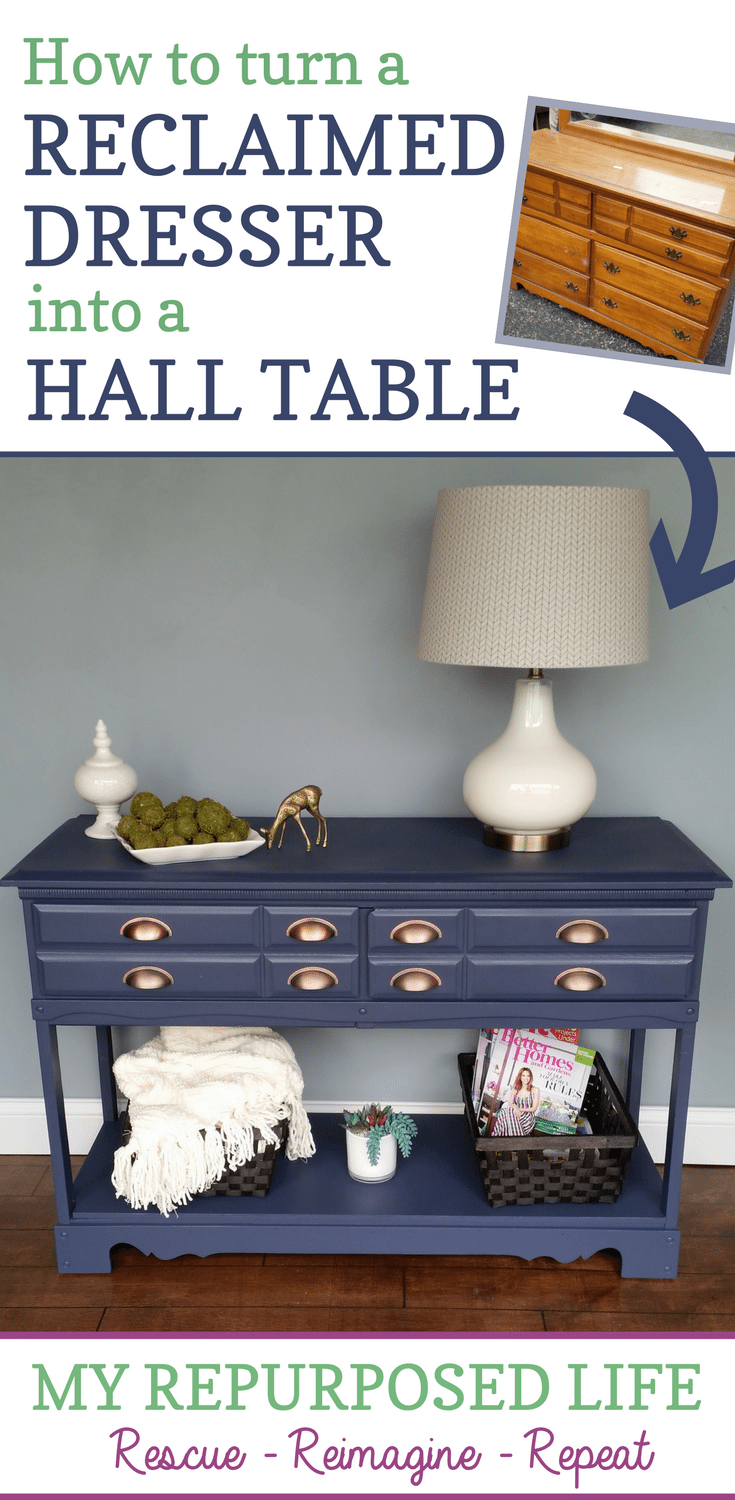 how to turn a reclaimed dresser into a hall table with storage