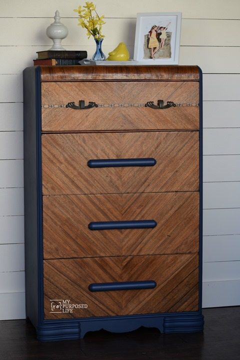 MyRepurposedLife.com blue waterfall dresser makeover