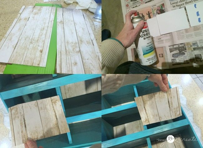 adding paper to back of cubbies