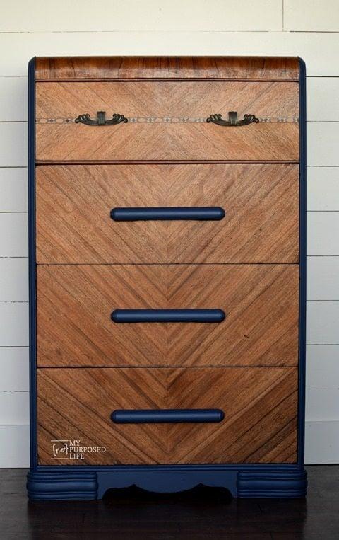 amazing waterfall dresser makeover MyRepurposedLife.com