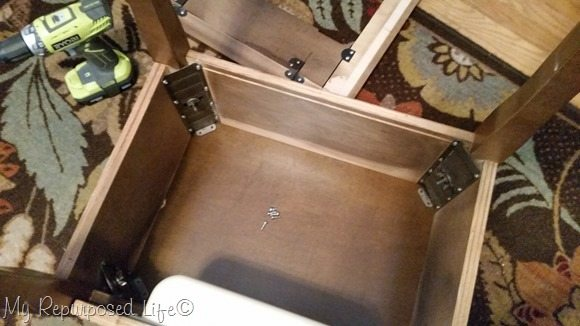 attach sewing cabinet lid