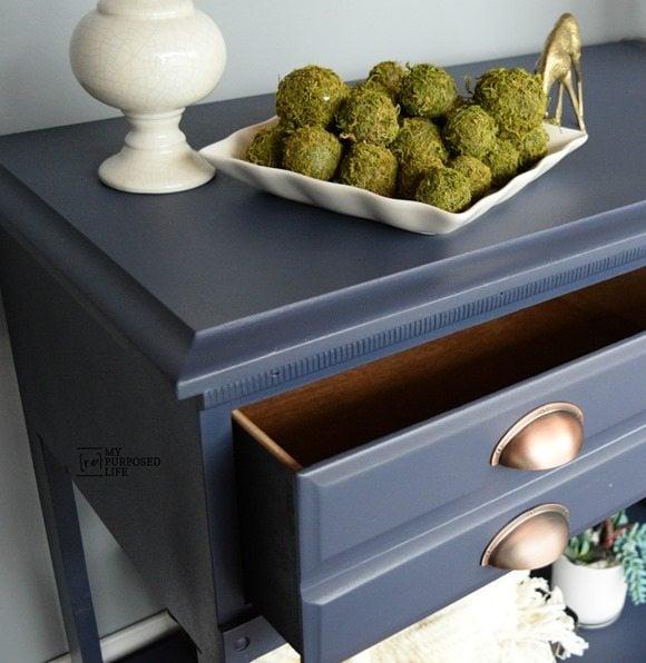 blue hall table from a dresser MyRepurposedLife.com