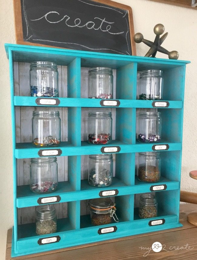 store craft supplies in cubby organizer