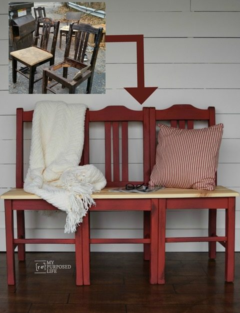 How to make a bench from three dumpster chairs. Easiest chair bench tutorial you will find. How did I get the perfect red? All the details included for you. #MyRepurposedLife #repurposed #furniture #chair #bench #tutorial #diy via @repurposedlife