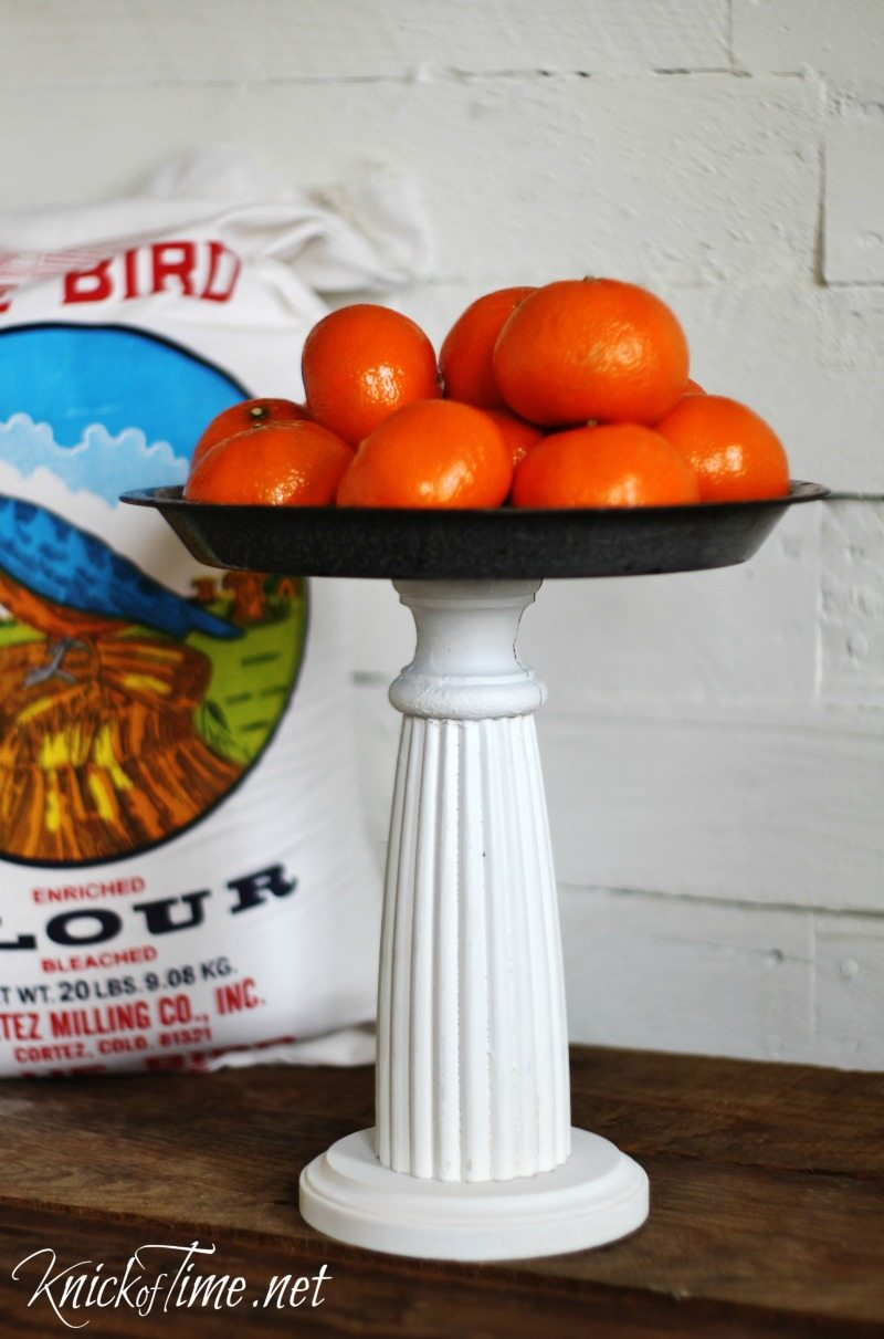 pie plate pedestal stand made from a vintage pie plate and a spare spindle MyRepurposedLife.com