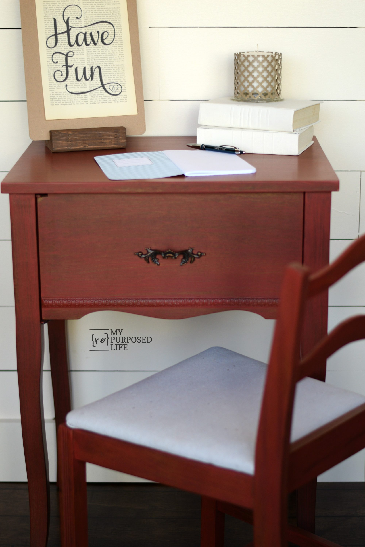 Cute red writing desk MyRepurposedLife