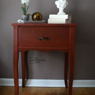 Red Side Table | repurposed sewing cabinet