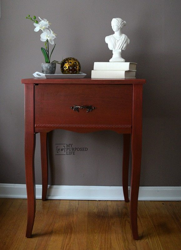 Nice repurposed sewing cabinet into a red side table MyRepurposedLife