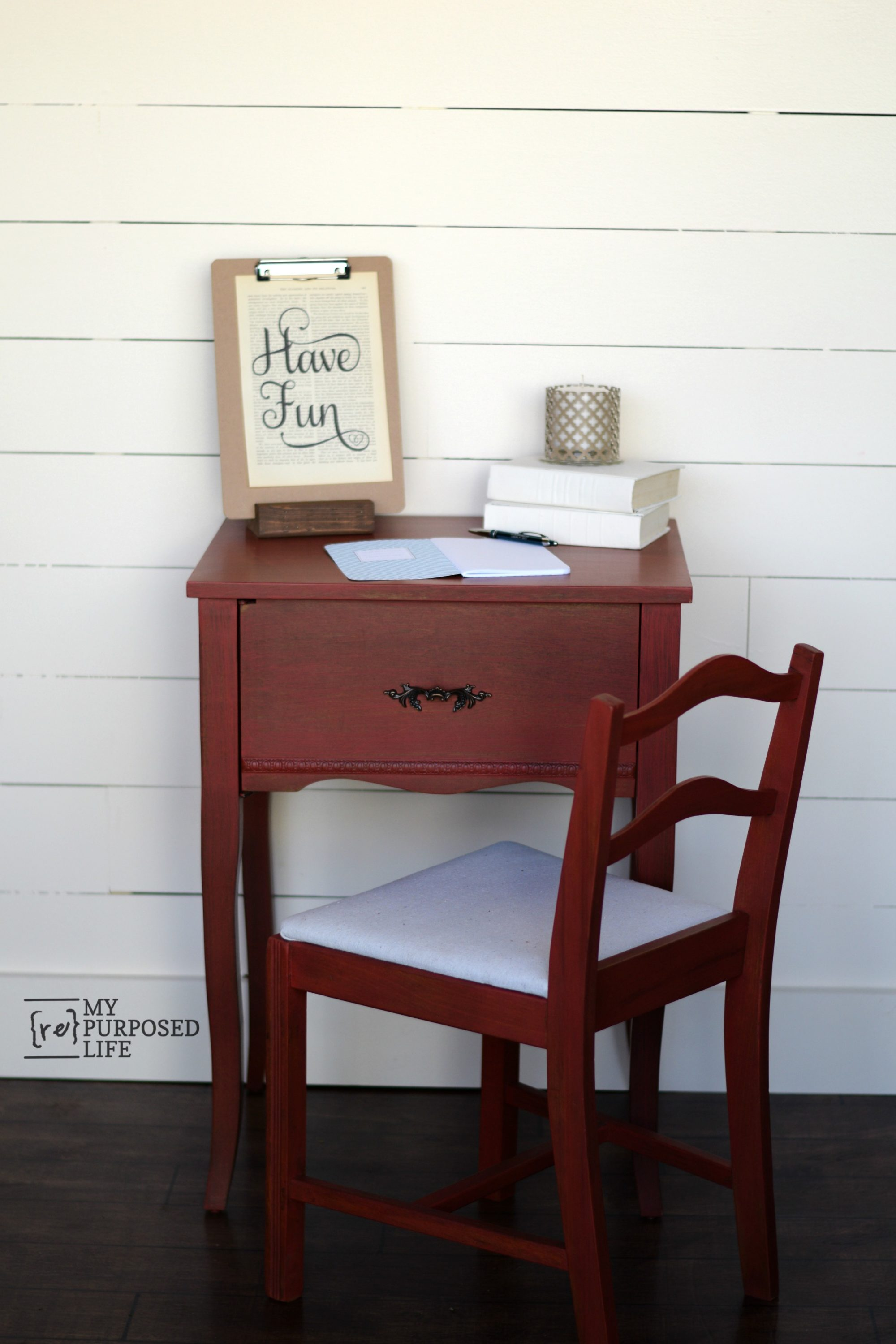 Red Side Table   repurposed sewing cabinet - My Repurposed Life®