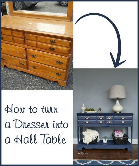 turn a dresser into a hall table MyRepurposedLife.com