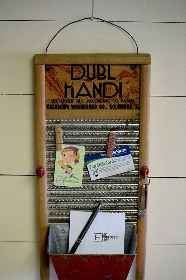 vintage washboard memo organizer myrepurposedlife.com