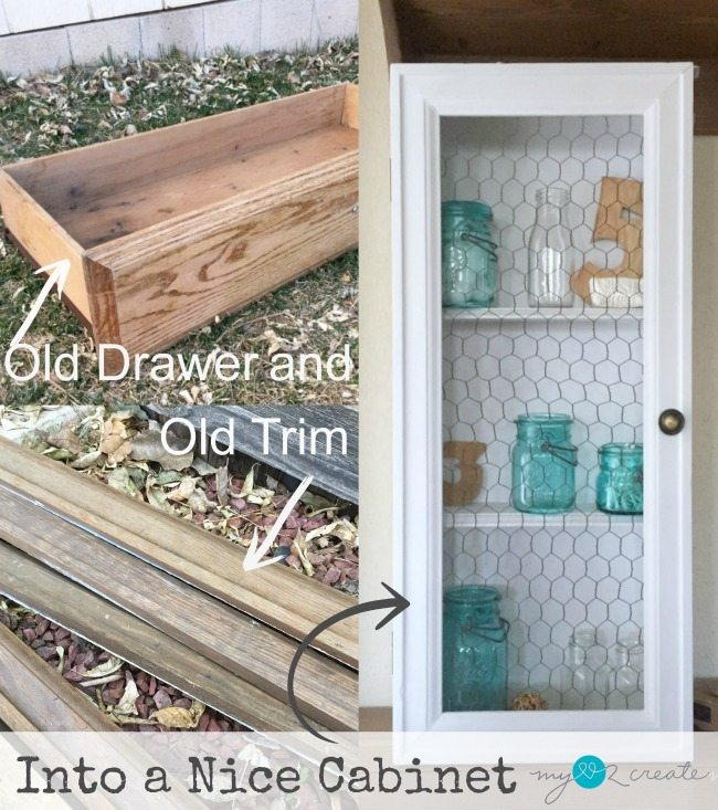 Old drawer and trim into a nice cabinet MyLove2Create for MyRepurposedLife.com