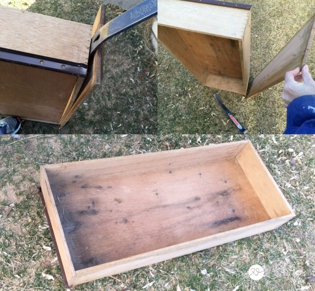 Removing drawer face from old drawer