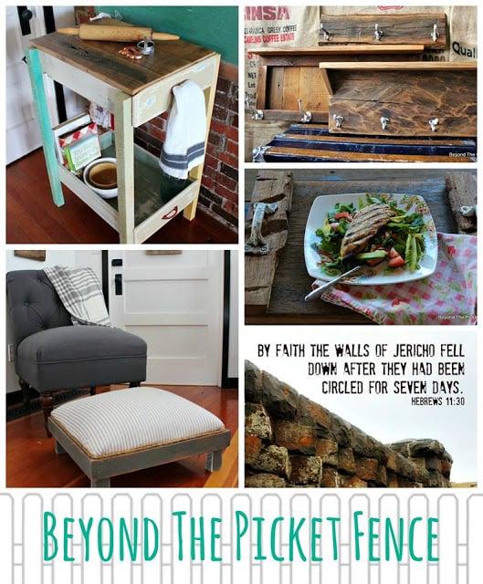 DIY work table, footstool, coat hooks plus recipe and inspirational verse