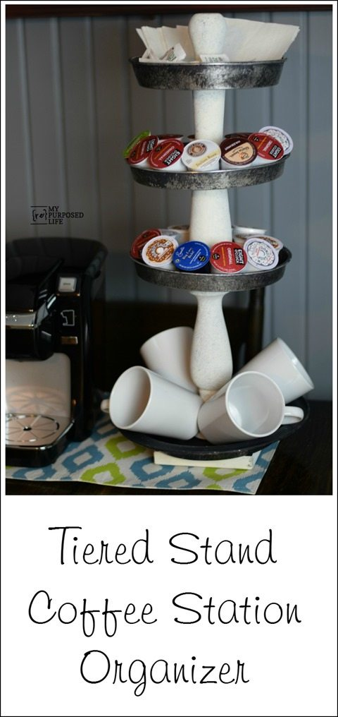 large tiered stand coffee station organizer MyRepurposedLife.com