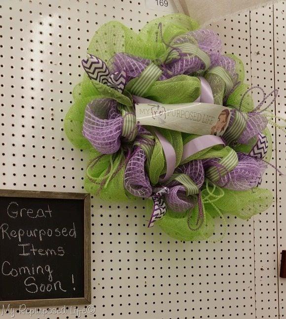 my repurposed life mesh wreath