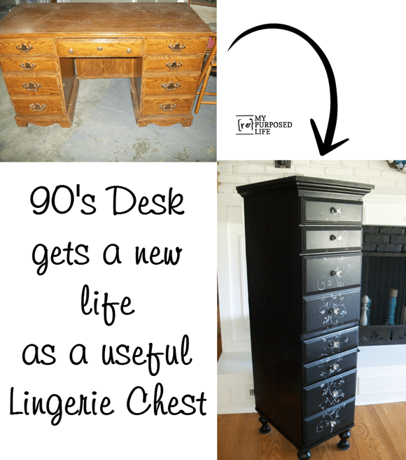 old desk gets a new life as a useful lingerie chest MyRepurposedLife.com