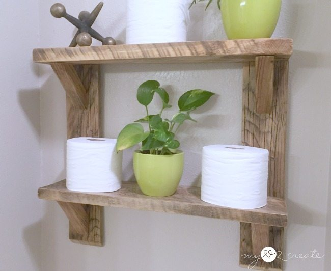 bathroom shelves reclaimed wood