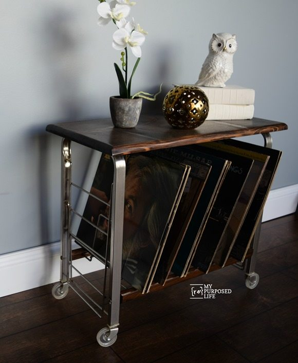 small record cart table makeover MyRepurposedLife.com