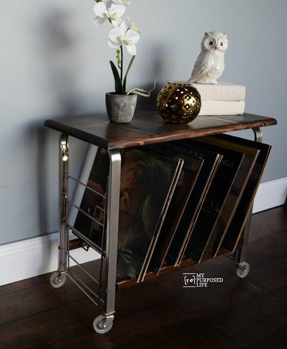 small record cart table makeover MyRepurposedLife.com