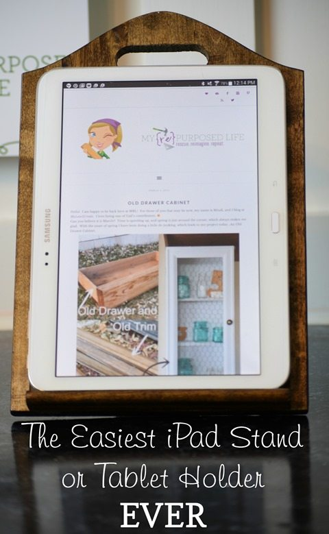 the easiest iPad stand or tablet holder ever MyRepurposedLife.com