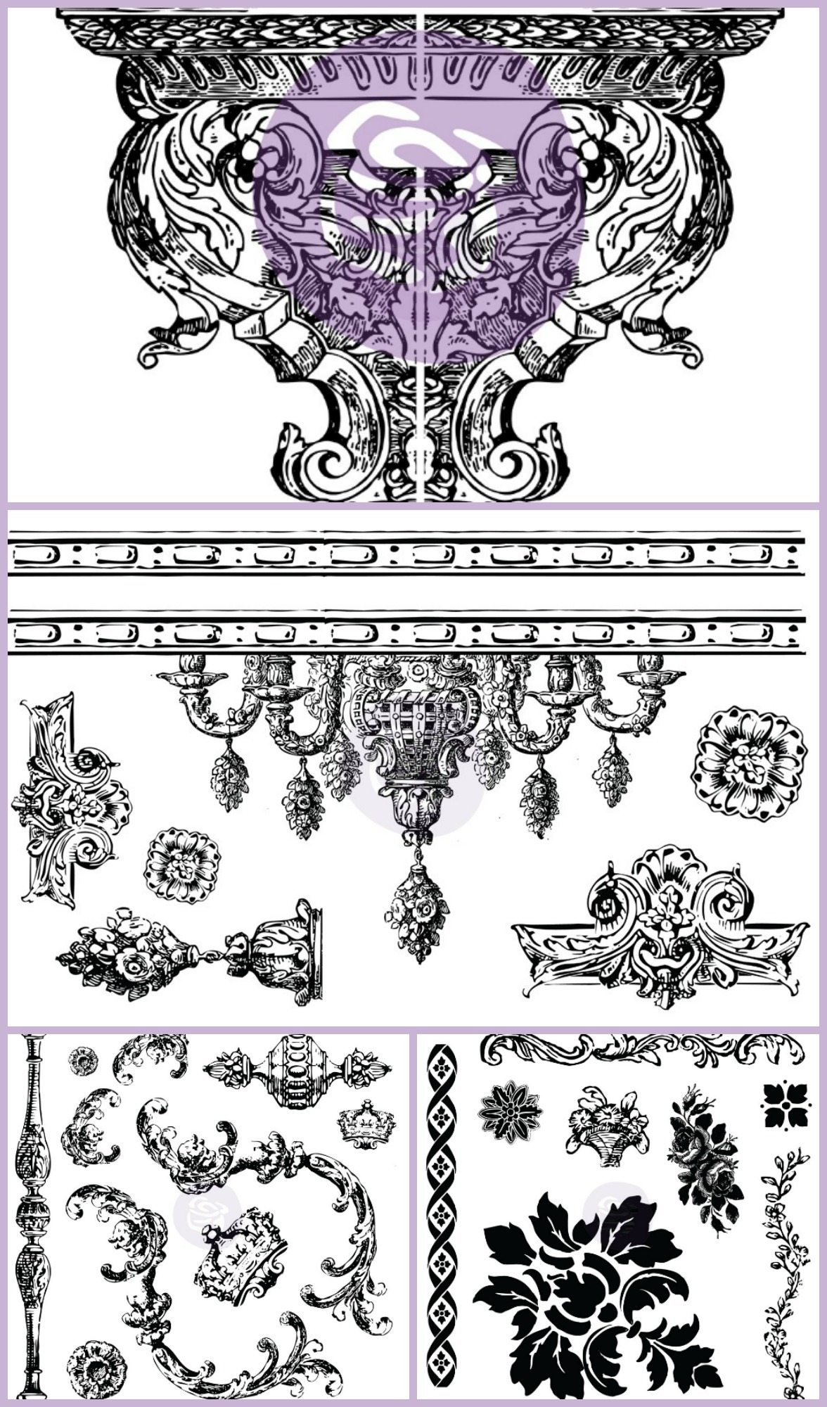 Prima Iron Orchid Clear Home Decor Stamps