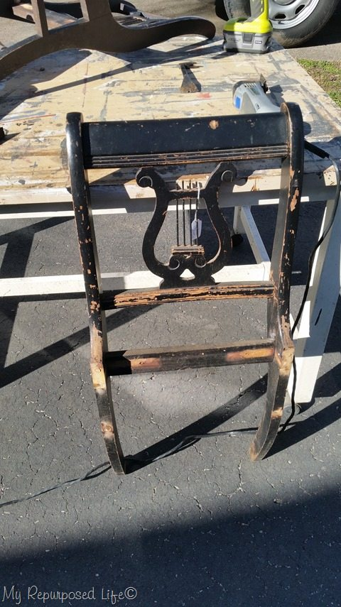 dismantled chair back