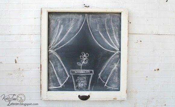 farmhouse window chalkboard