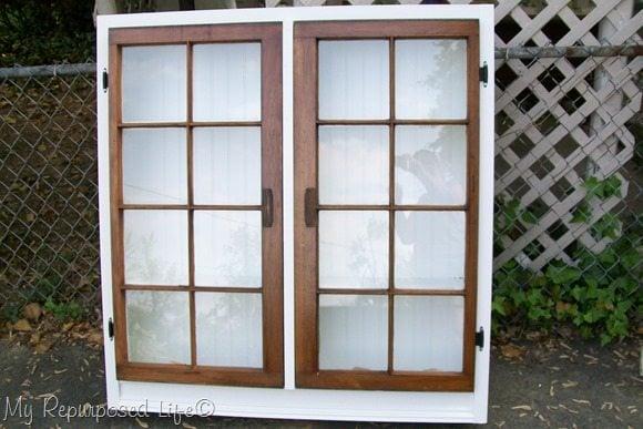 large floor repurposed window cabinet