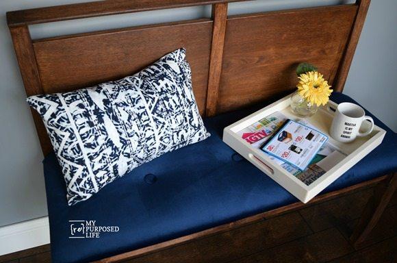 mid-century modern blue velvet seat headboard bench MyRepurposedLife.com