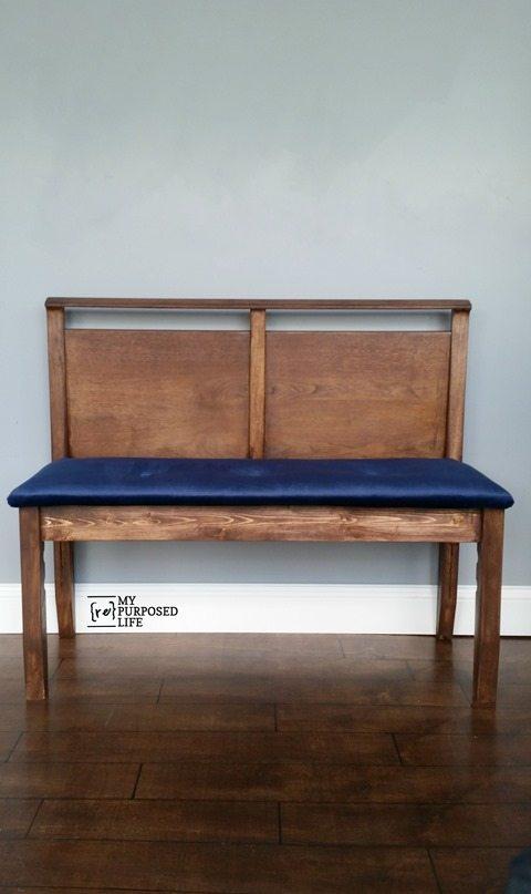 mid century modern headboard bench blue velvet seat MyRepurposedLife.com