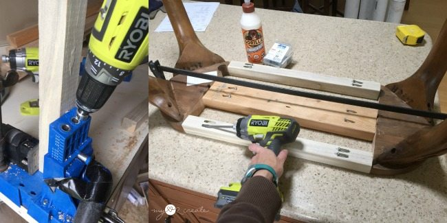 using pocket holes to attach support rails to connect legs