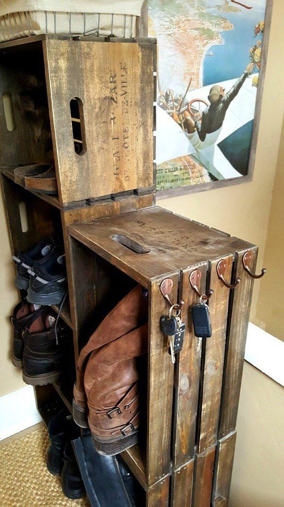 diy wooden crate shoe rack