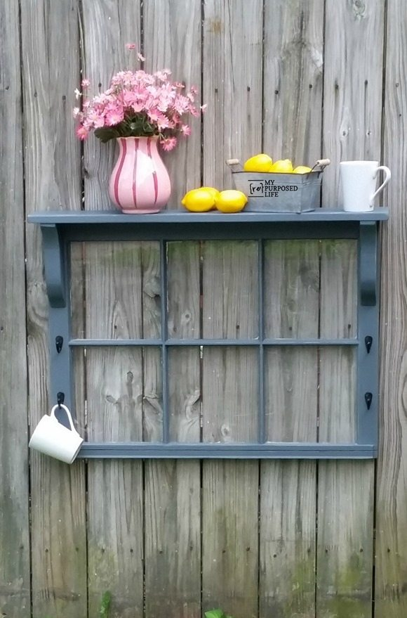 Step by step directions on how to repurpose a window by adding scrap wood pieces to turn it into a window shelf! Easy project to do in an afternoon. What color will you paint yours? #MyRepurposedLife #easy #window #project #repurposed #shelf #tutorial via @repurposedlife
