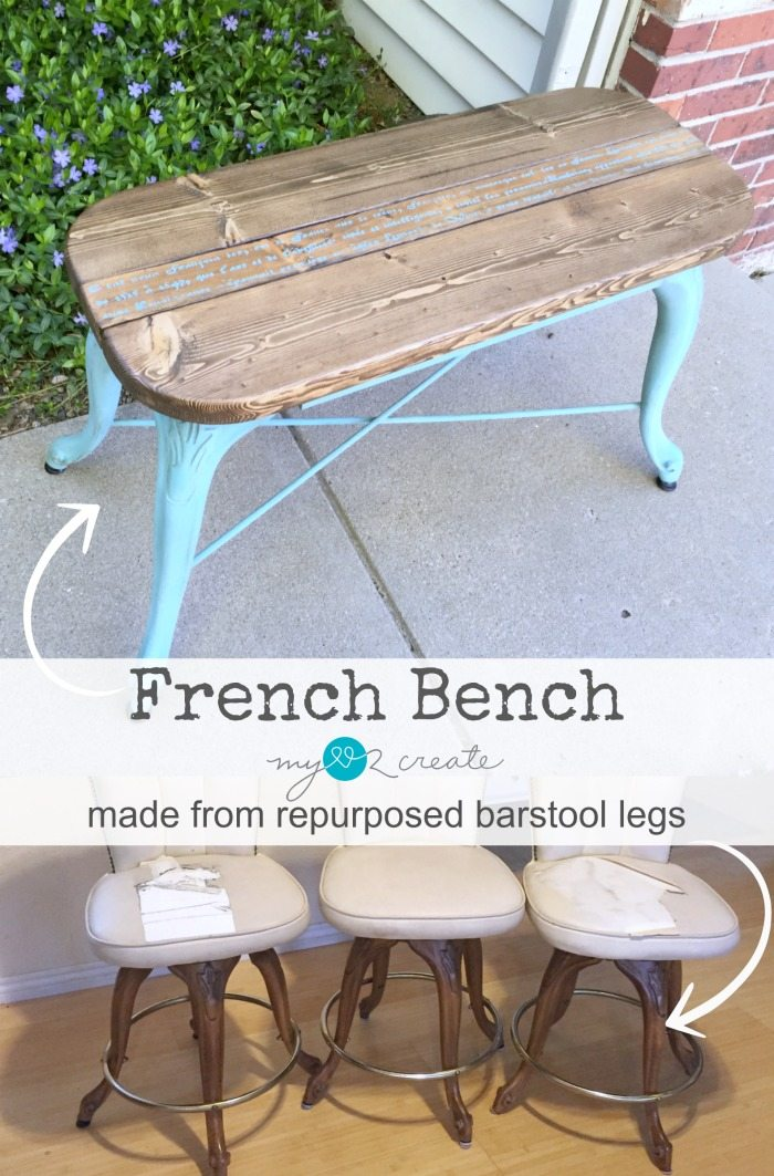 bench made from repurposed barstool legs