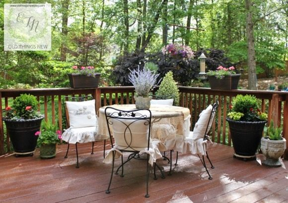 french courtyard backyard deck Old Things New