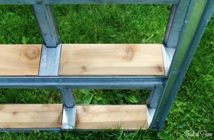 metal pallet with wood shelves