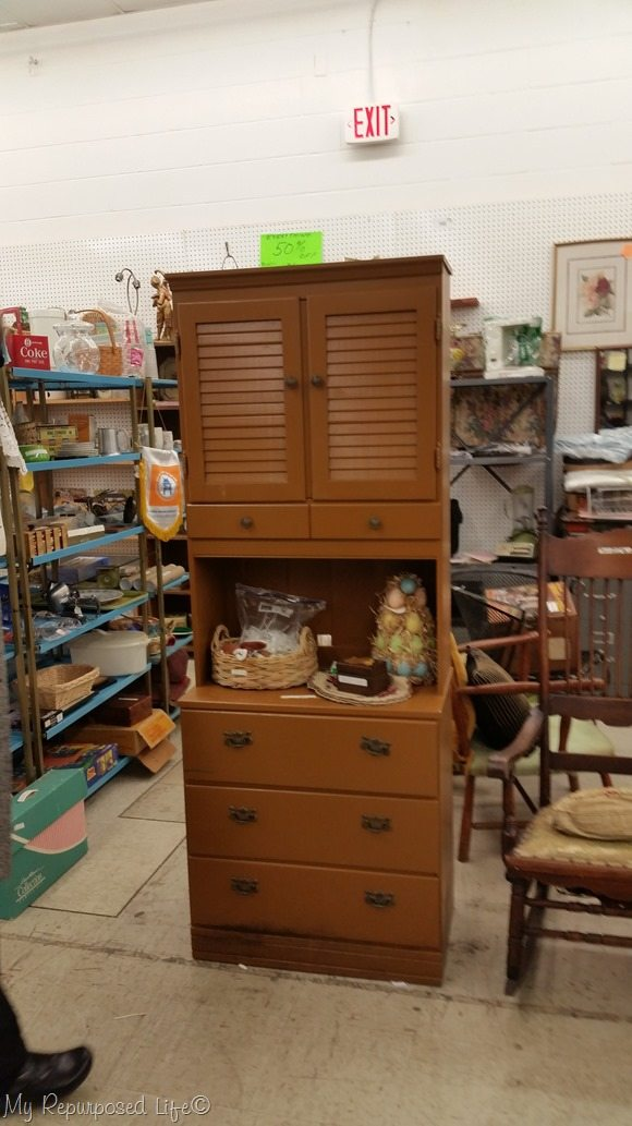 old ugly brown hutch