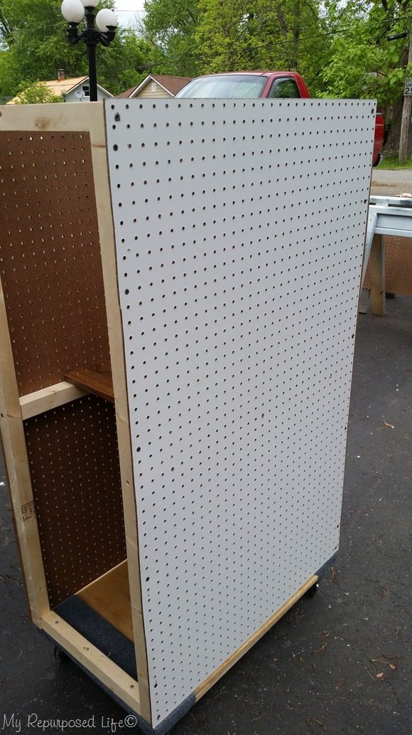 portable pegboard tool cart