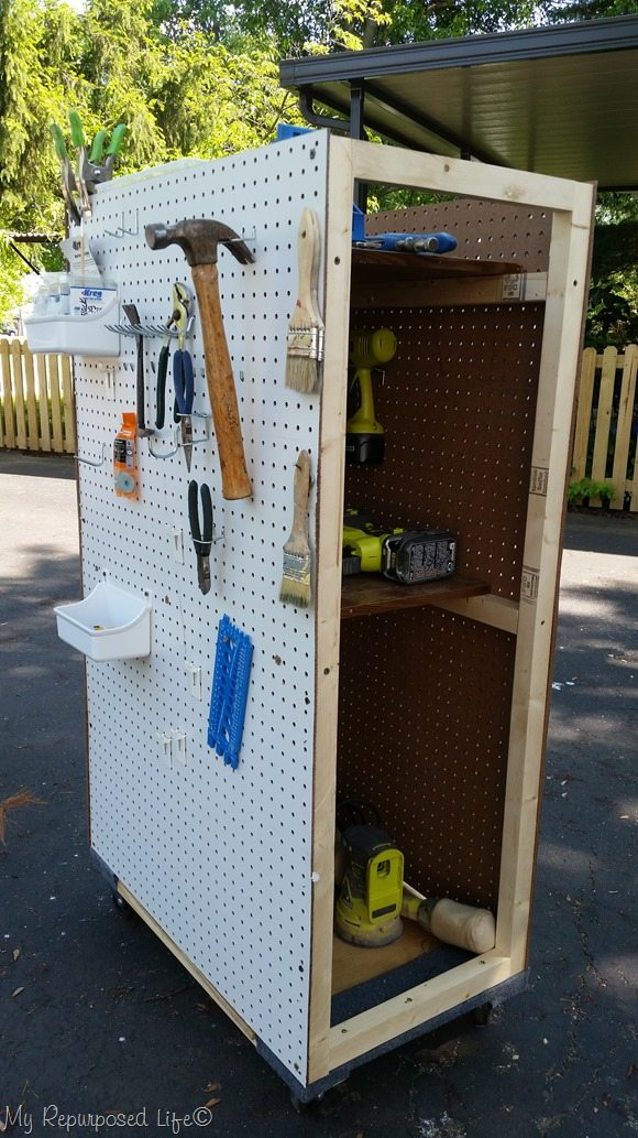 Rolling Tool Cart with Pegboard Storage My Repurposed Life™