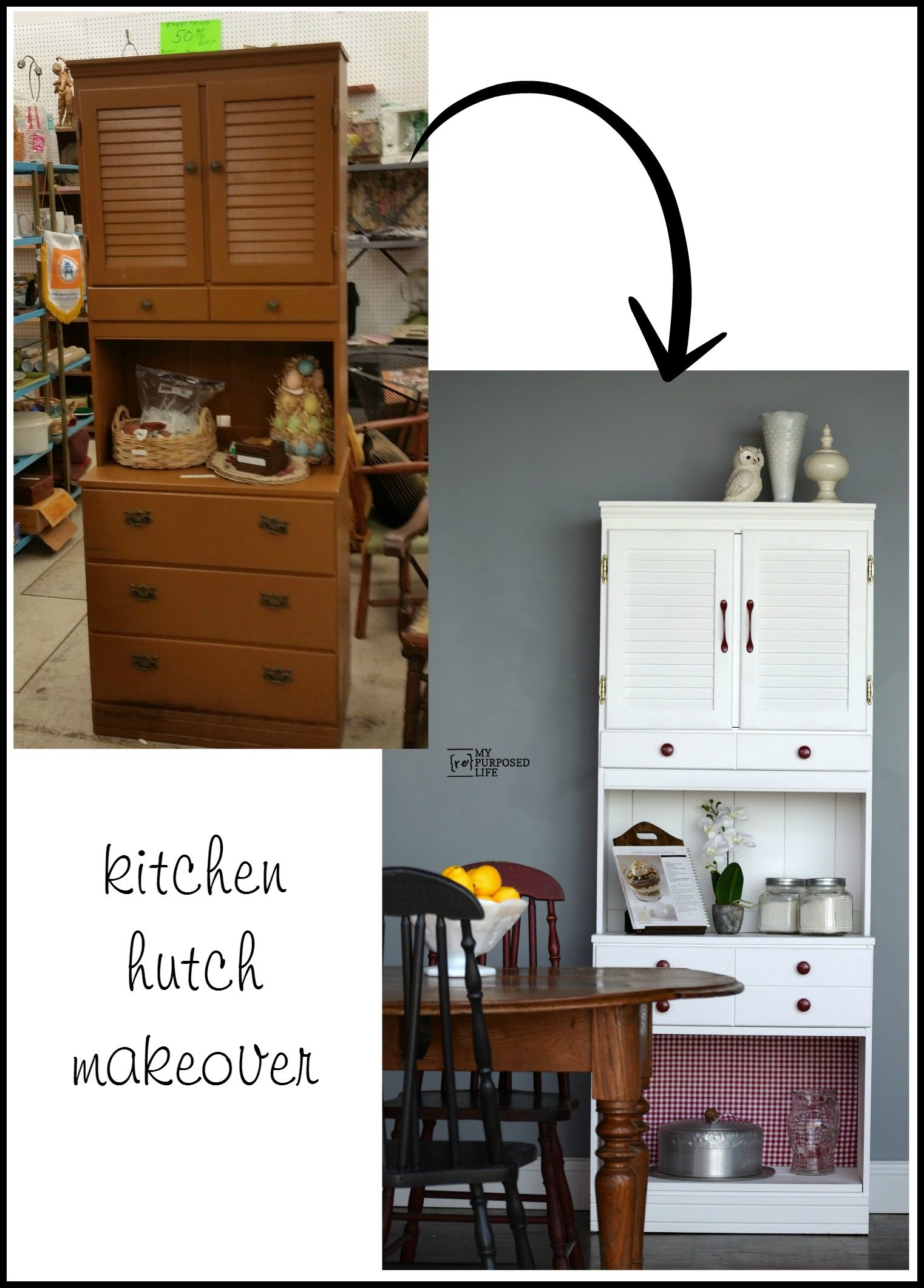 White Kitchen Hutch kitchen hutch makeover | remake - my repurposed life®