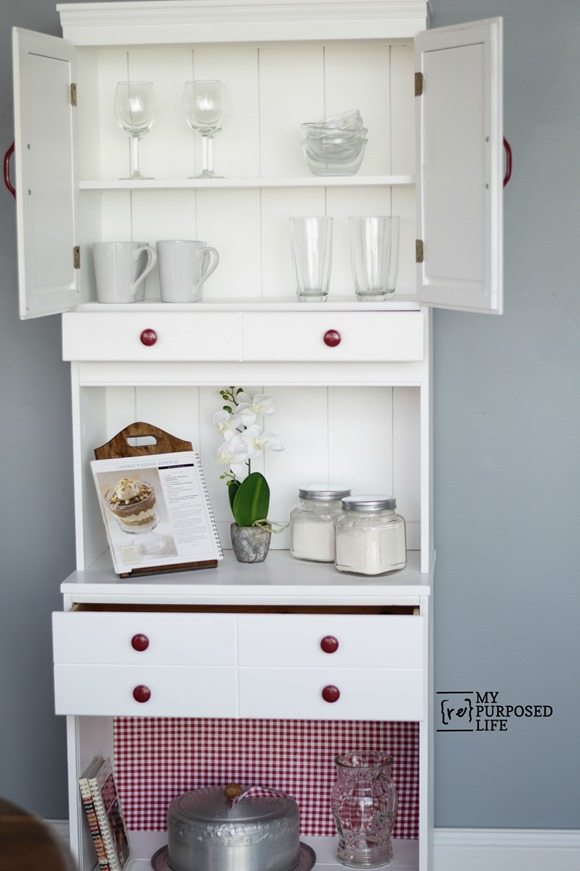 white kitchen hutch country cupboard MyRepurposedLife.com