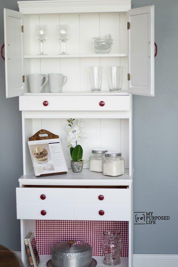 white kitchen hutch country cupboard MyRepurposedLife.com