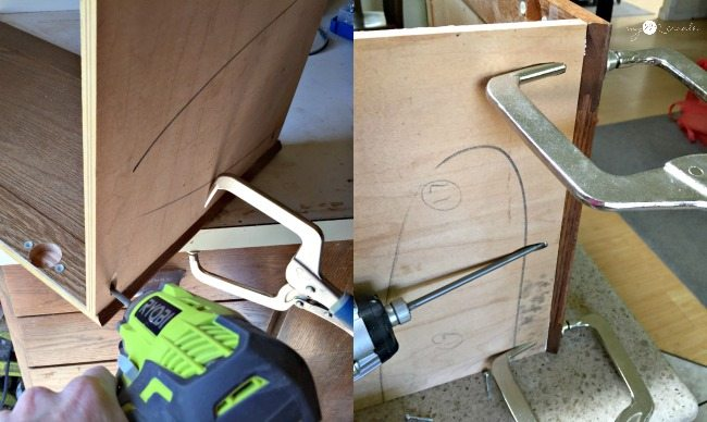 attaching cupboard doors to plywood to build a shelf